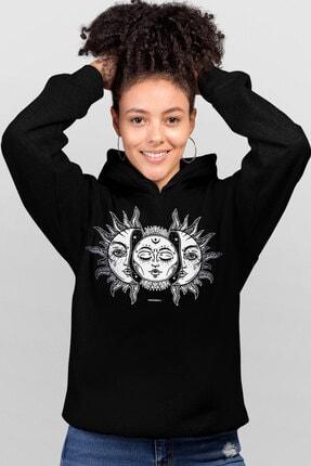 Rock & Roll34 Ay Güneş Siyah Kapşonlu Kadın Sweatshirt