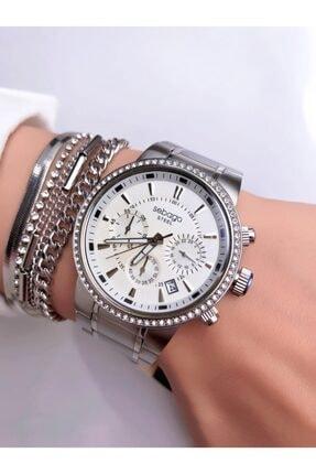 Sebago Kadın Gümüş Kol Saati - Kombin Bileklik