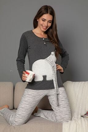Siyah İnci Kadın Gri Pamuklu Likrali Düğmeli Nakışlı Pijama Takım