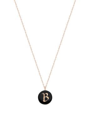 Silver Bazaar Kadın Siyah Mineli Gümüş B Harfi Kolye