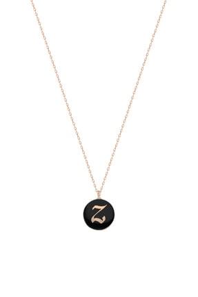 Silver Bazaar Kadın Siyah Mineli Gümüş Z Harfi Kolye