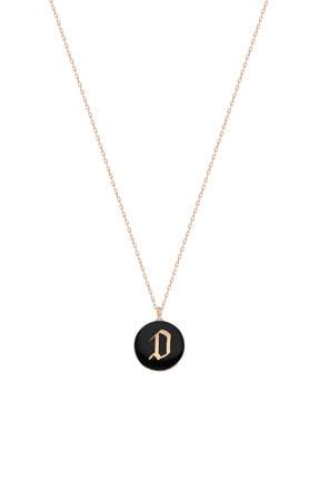 Silver Bazaar Kadın Siyah Gümüş D Harfi Mineli Kolye