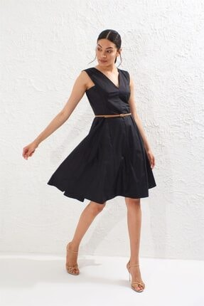 Setre Kadın Siyah V Yaka Kemerli Kolsuz Volanlı Elbise