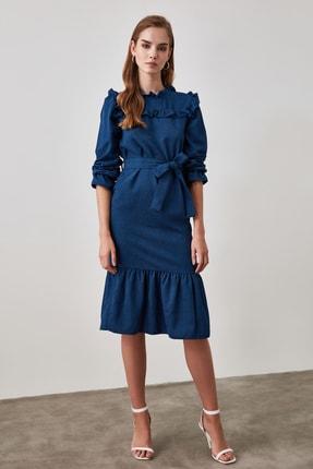 TrendyolMilla Indigo Kuşaklı Frfır Detaylı Kadife Elbise TWOAW21EL0921