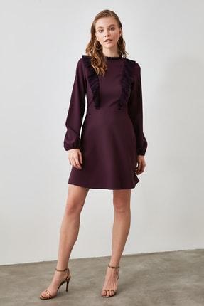 TrendyolMilla Mürdüm Fırfır Detaylı Elbise TWOAW21EL1312