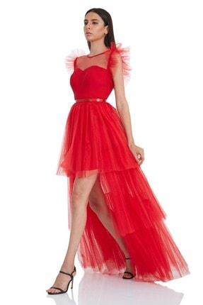 Keikei Kadın Kırmızı Tül Kolsuz Uzun Elbise