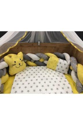 Örgülü Sarı Cibinlikli Beşik Bebek Uyku Seti MBUORGS01