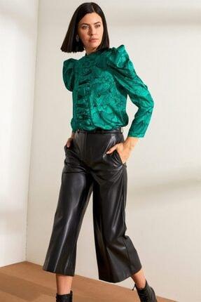 Setre Kadın Yeşil Hakim Yaka Truvakar Kol Drapeli Bluz