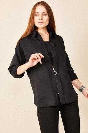 Morpile Kadın Siyah Fermuarlı Uzun Kollu Gömlek