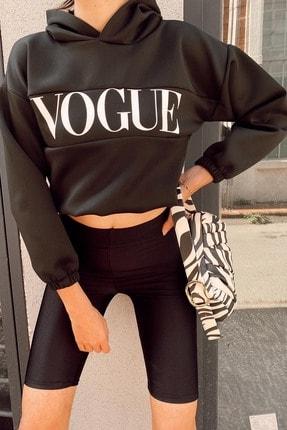 Xhan Kadın Siyah Baskılı Kapüşonlu Sweatshirt