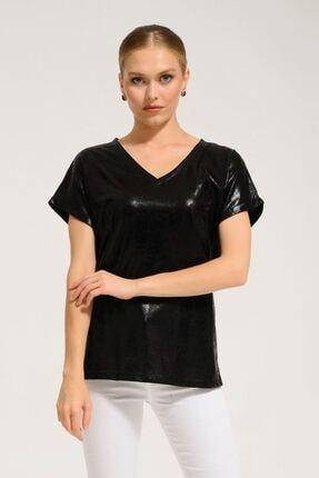 Batik Kadın Siyah Orm Düz Casual Kısa Kol T-Shırt Y42719