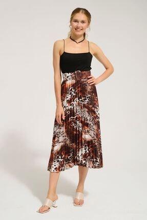 Batik Kadın Kahverengi Desenlı Casual Etek Y42576 Dkm