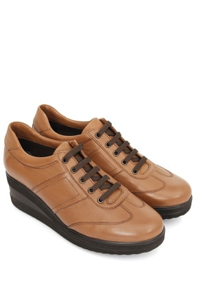 GÖN Hakiki Deri Taba Kadın Dolgu Topuklu Ayakkabı 21011
