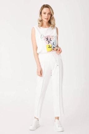Moda İlgi Kadın Ekru Beli Lastikli Pantolon