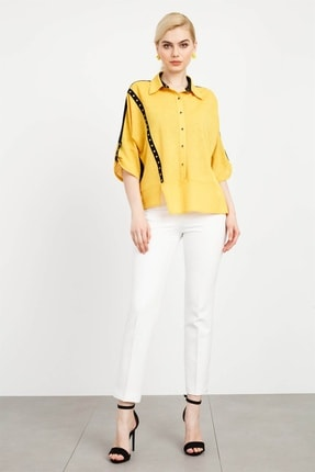 Moda İlgi Kadın Erkek Yaka Şerit Detay Bluz Safran