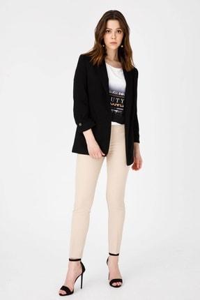 Moda İlgi Kadın Siyah Yarım Astarlı Ceket