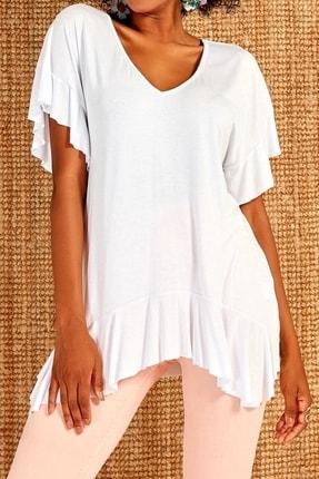 Boutiquen Kadın Beyaz V Yaka Volan Detaylı Bluz 1194