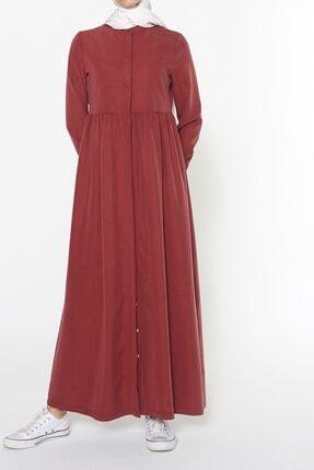 ALLDAY Kadın Kiremit Bel Büzgülü Tensel Elbise