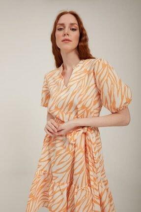 Batik Kadın Turuncu Keten Elbise