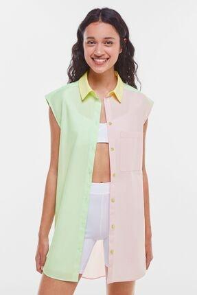 Bershka Blok Renkli Oversize Kolsuz Poplin Gömlek