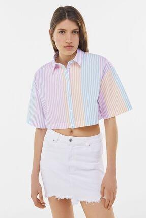 Bershka Çok Renkli Çizgili Crop Gömlek