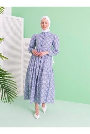 Loreen Kadın İndigo Etnik Desenli Elbise