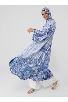 Refka Kuşak Detaylı Desenli Ferace - Mavi - Woman