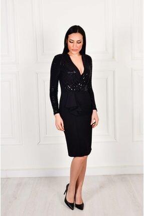Moda İlgi Pullu Kruvaze Siyah Elbise