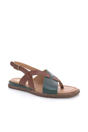 Beta Kadın Deri Yeşil Sandalet