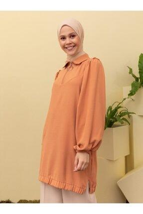 Loreen Kadın Somon Fırfır Detaylı Yarım Fermuarlı Tunik