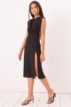 Bsl Kadın Siyah Yırtmaç Detaylı Kolsuz Midi Elbise