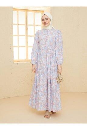 Loreen Kadın Gül Kurusu Desenli Elbise