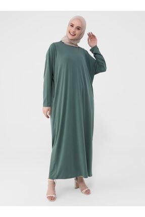 Refka Kadın Zümrüt  Sandy Kumaşlı Gizli Cepli Elbise- Casual