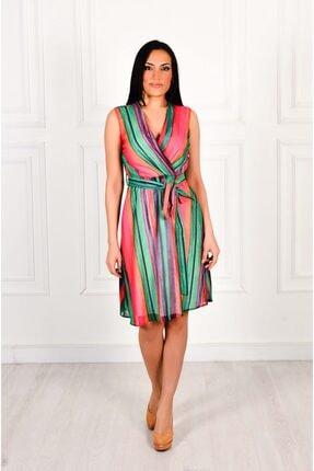 Moda İlgi Çizgili Kruvaze Kolsuz Elbise