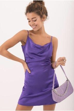 Bsl Kadın Mor Degaje Yaka Detaylı Askılı Mini Elbise