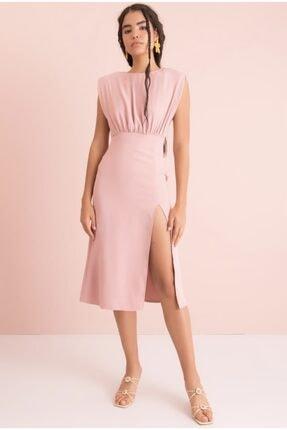 Bsl Kadın Pudra Yırtmaç Detaylı Kolsuz Midi Elbise