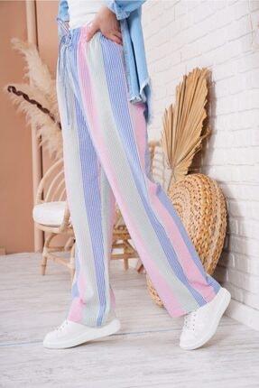 Bigdart Kadın Mavi Çok Renkli Oversize Pantolon