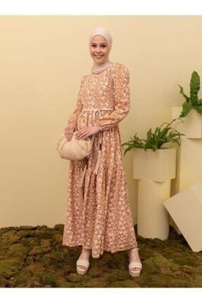 Loreen Kadın Latte Camel Desenli Elbise