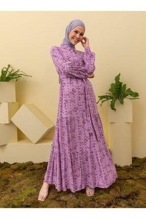 Loreen Kadın Lila  Desenli Elbise