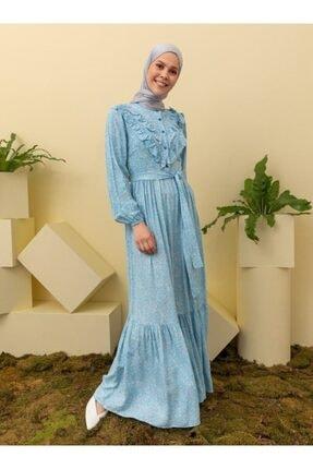 Loreen Açık Mavi Desenli Elbise