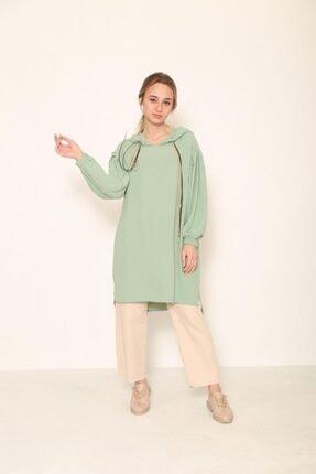 Loreen Kadın Yeşil Kapşonlu Tunik