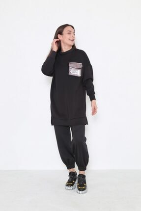 Loreen Kadın Siyah Cepli Tunik