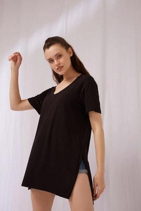 Fashion Friends Kadın Siyah V Yaka Tişört
