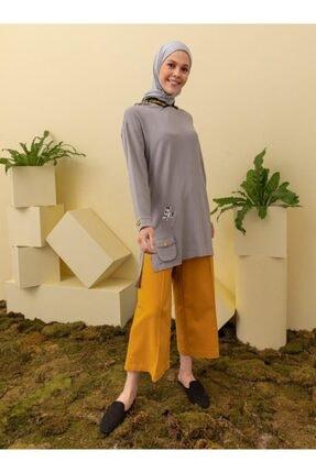 Loreen Kadın Gri Kapüşonlu Cep Detaylı Tunik