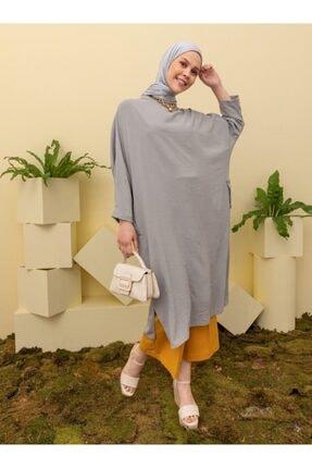 Loreen Kadın Gri Salaş Cep Detaylı Tunik