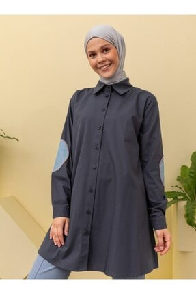 Loreen Kadın Lacivert Dirsek Detaylı Tunik