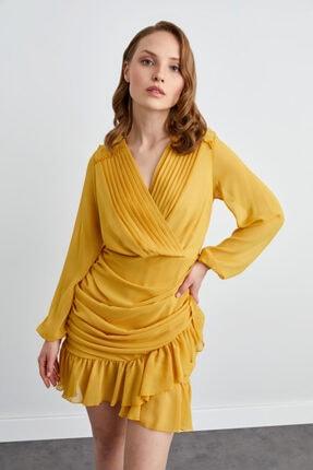 adL Kadın Hardal Drapeli Mini Şifon Elbise