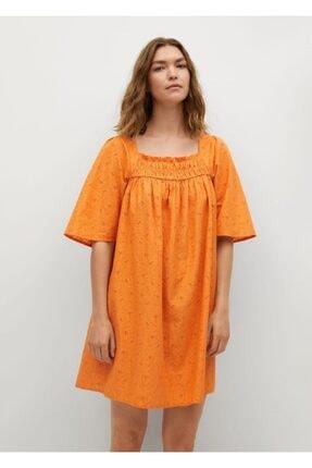 Mango Kadın Turuncu Dokuma Koton Elbise