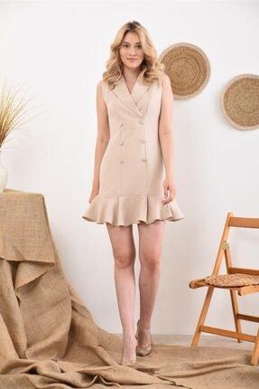 İroni Kadın Kolsuz Taş Blazer Elbise