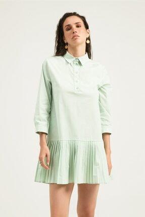 Quzu Kadın Mint Piliseli Gömlek Elbise